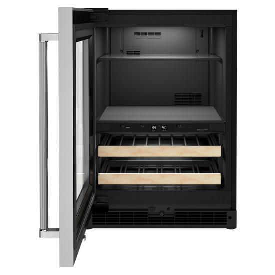 "Model: KUBL214KSB | KitchenAid 24"" Beverage Center with Glass Door and Wood-Front Racks"