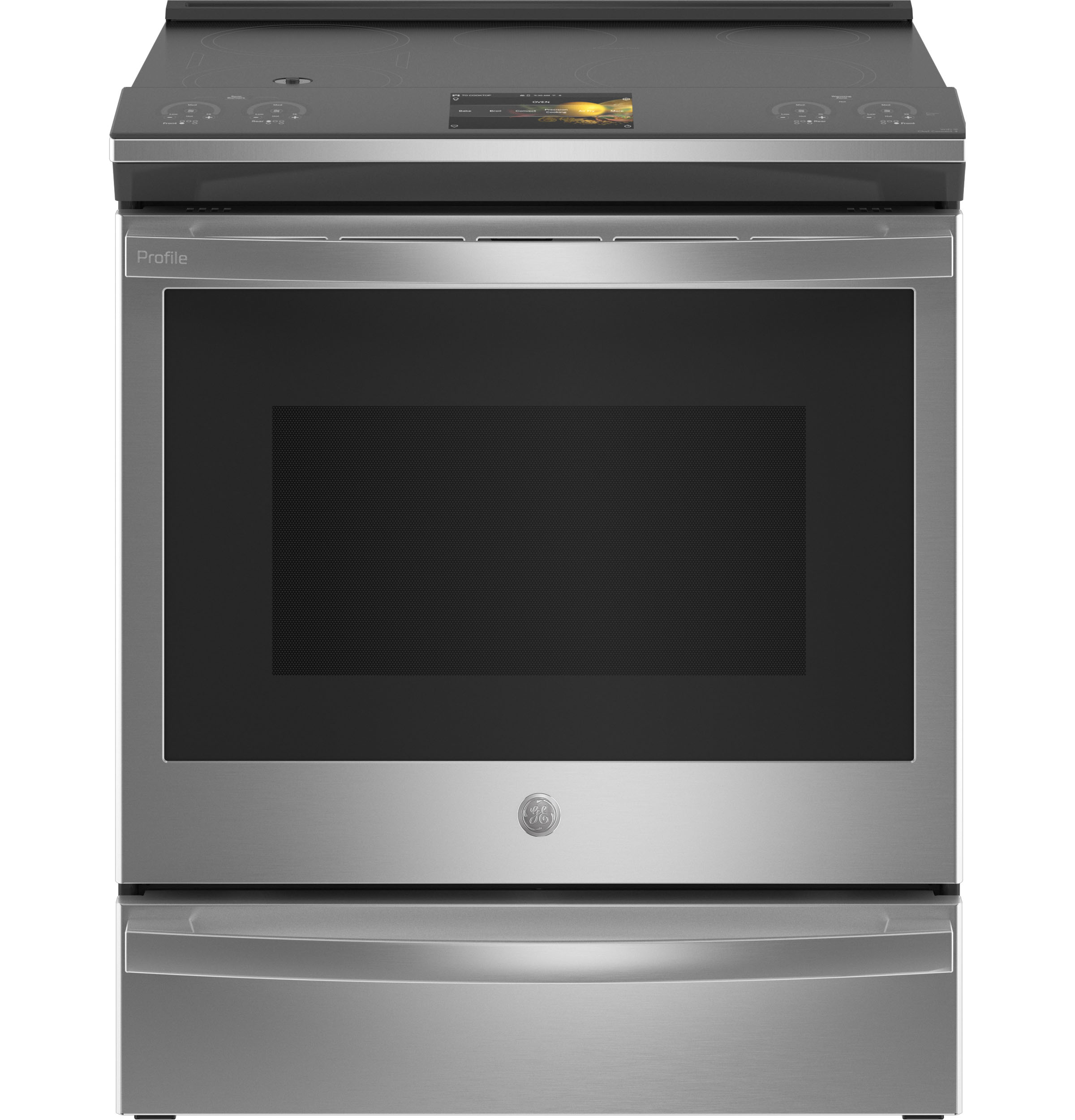 "GE Profile GE Profile™ 30"" Smart Slide-In Front-Control Induction Fingerprint Resistant Range with In Oven Camera"