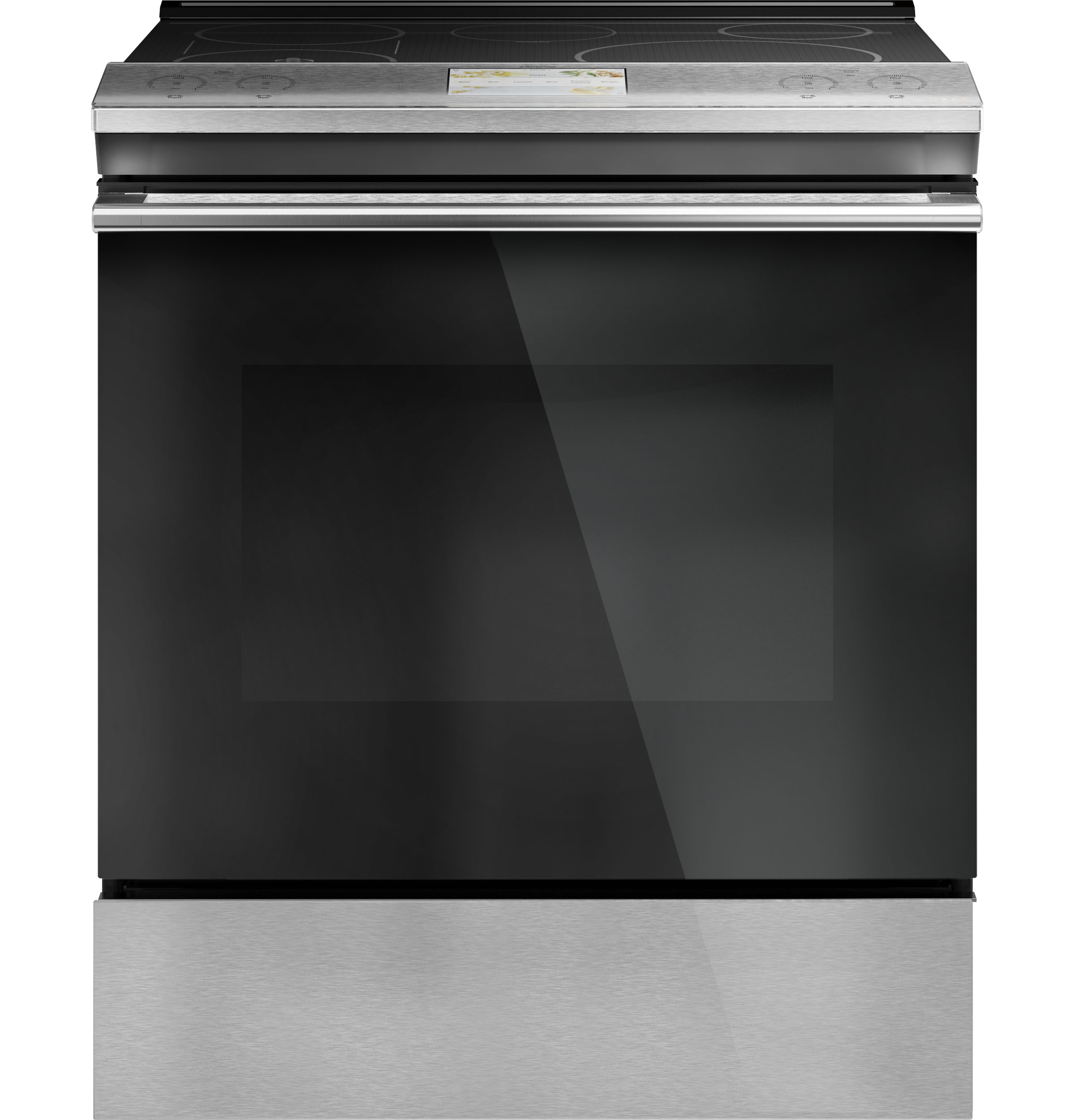 "Cafe Café™ 30"" Smart Slide-In, Front-Control, Induction and Convection Range with In-Oven Camera in Platinum Glass"