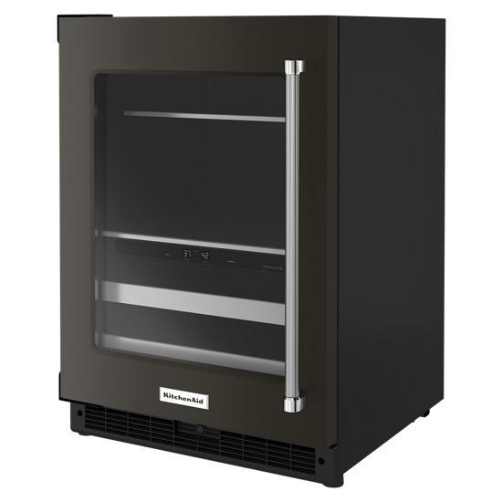 "Model: KUBL314KBS | KitchenAid 24"" Beverage Center with Glass Door and Metal-Front Racks"