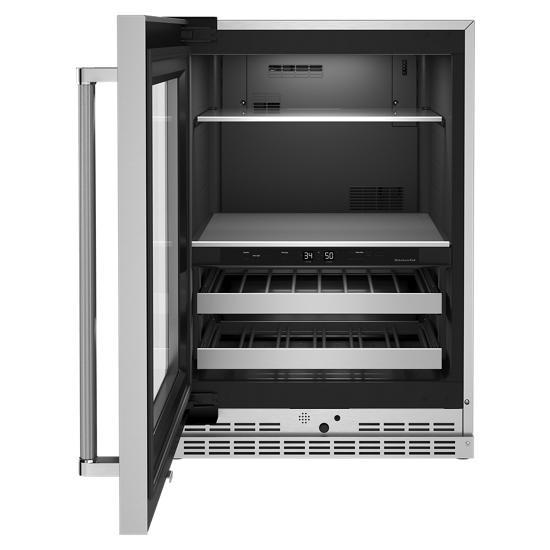 "Model: KUBL314KSS | KitchenAid 24"" Beverage Center with Glass Door and Metal-Front Racks"