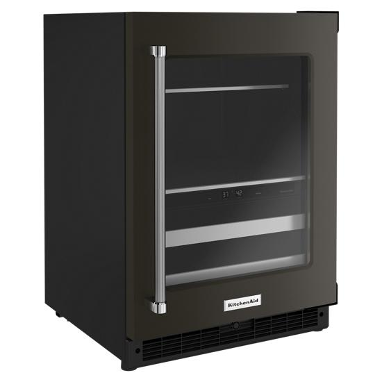 "Model: KUBR314KBS | KitchenAid 24"" Beverage Center with Glass Door and Metal-Front Racks"