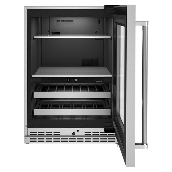 "Model: KUBR314KSS | KitchenAid 24"" Beverage Center with Glass Door and Metal-Front Racks"