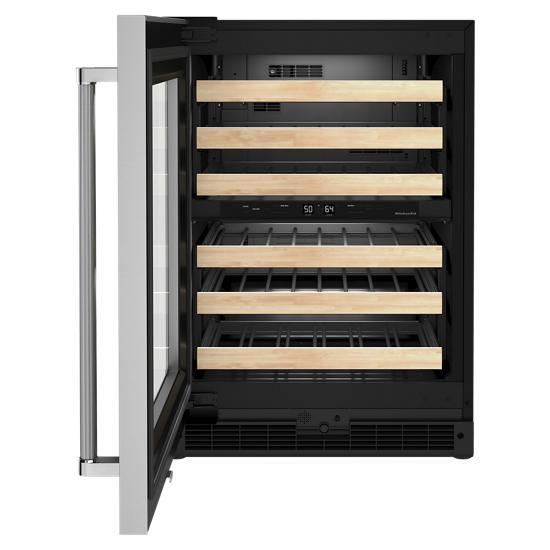 "Model: KUWL214KSB   KitchenAid 24"" Undercounter Wine Cellar with Glass Door and Wood-Front Racks"