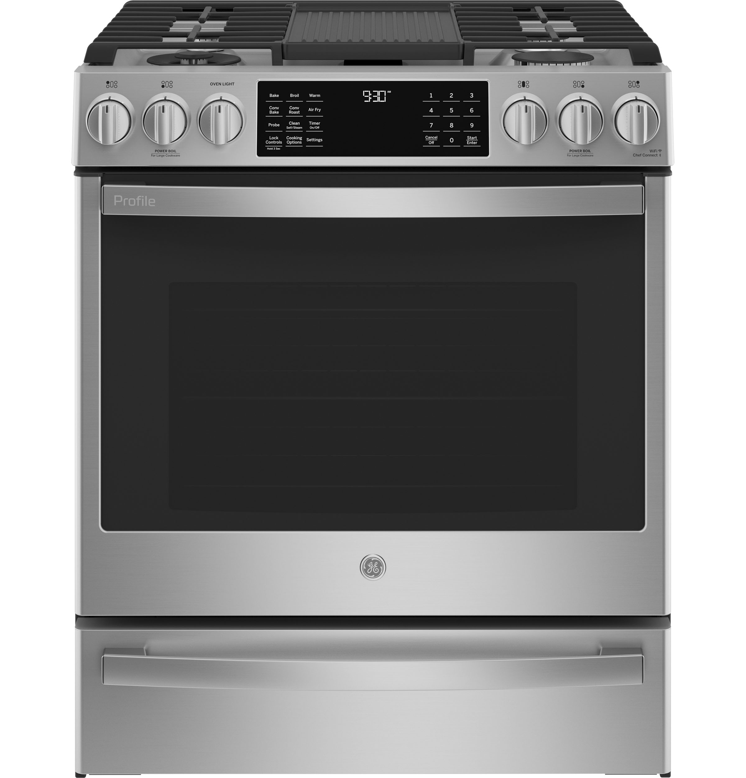"GE Profile GE Profile™ 30"" Smart Dual Fuel Slide-In Front-Control Fingerprint Resistant Range"