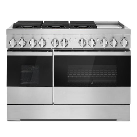 """Jenn-Air NOIR™ 48"""" Dual-Fuel Professional Range with Chrome-Infused Griddle"""