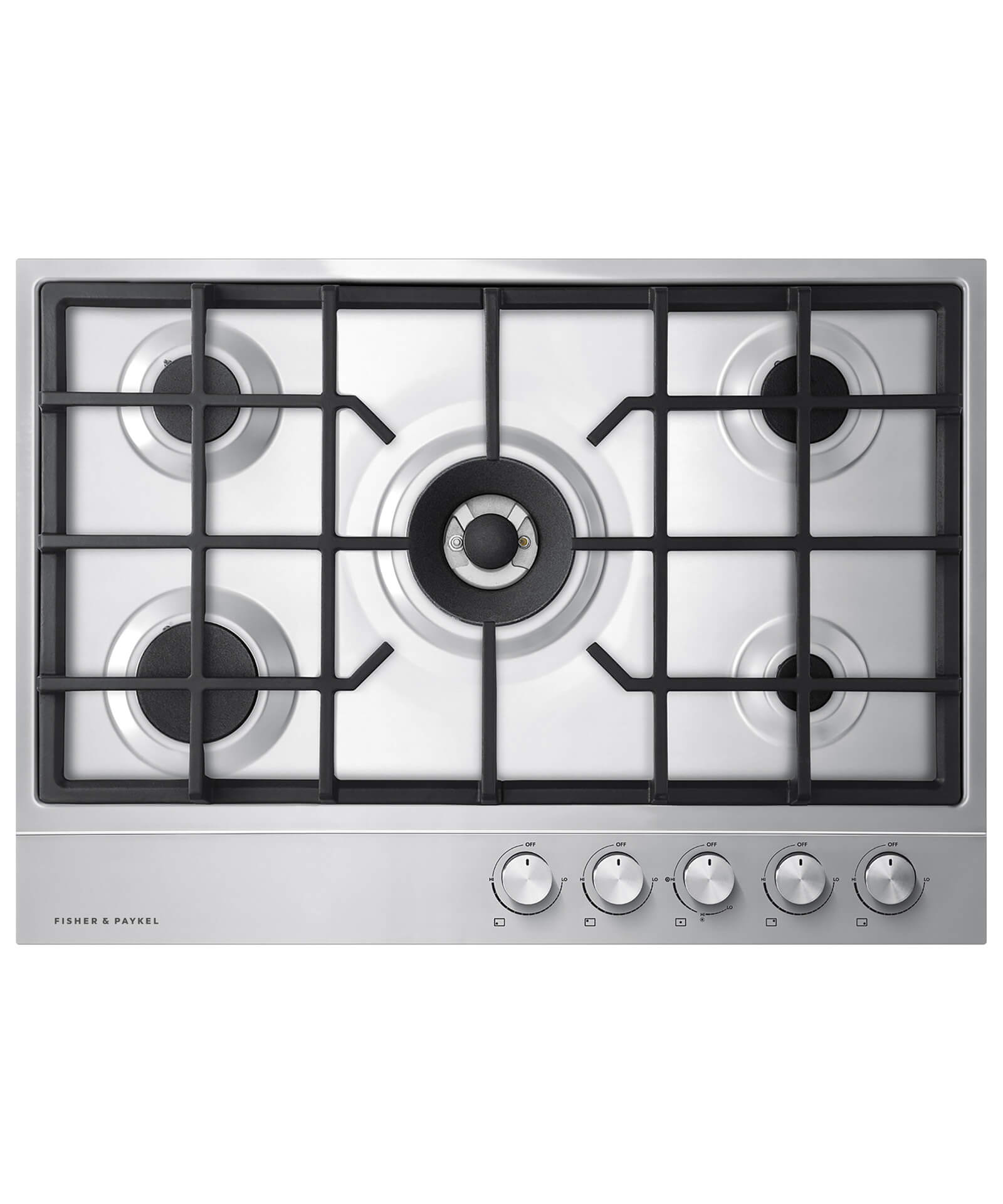 "Fisher and Paykel Gas on Steel Cooktop, 30"" 5 Burner"