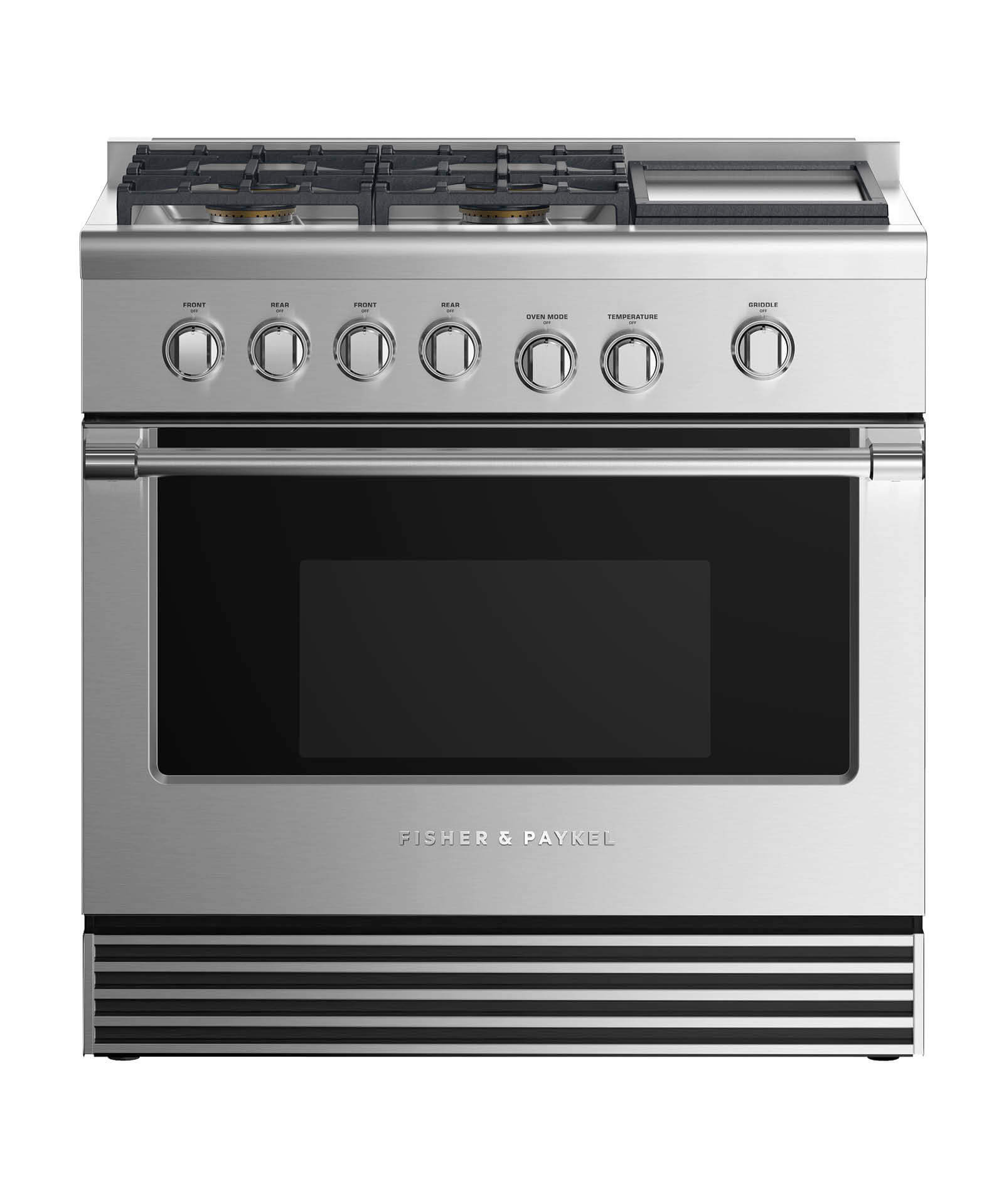 "Fisher and Paykel Gas Range 36"", 4 Burners with Griddle"