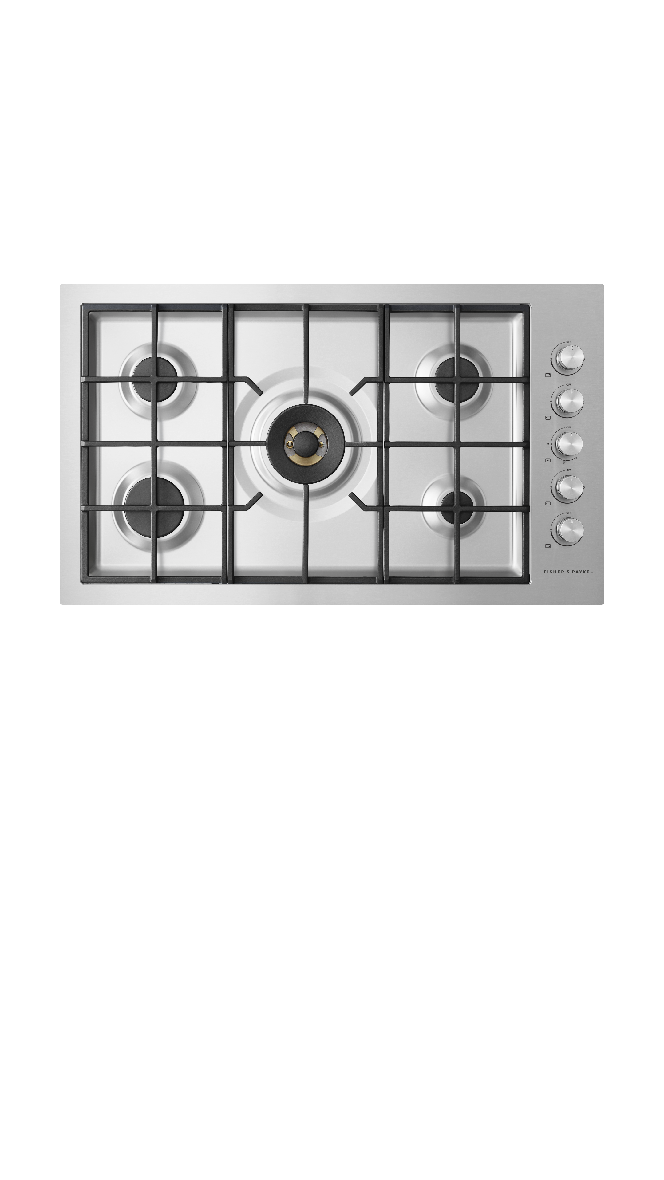 """Fisher and Paykel Gas on Steel Cooktop, 36"""", Flush Fit, LPG"""