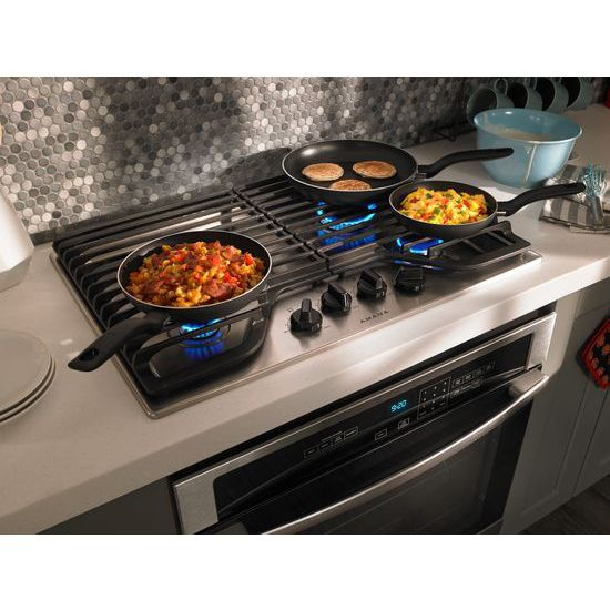 Model: AGC6540KFS | Amana 30-inch Gas Cooktop with 4 Burners