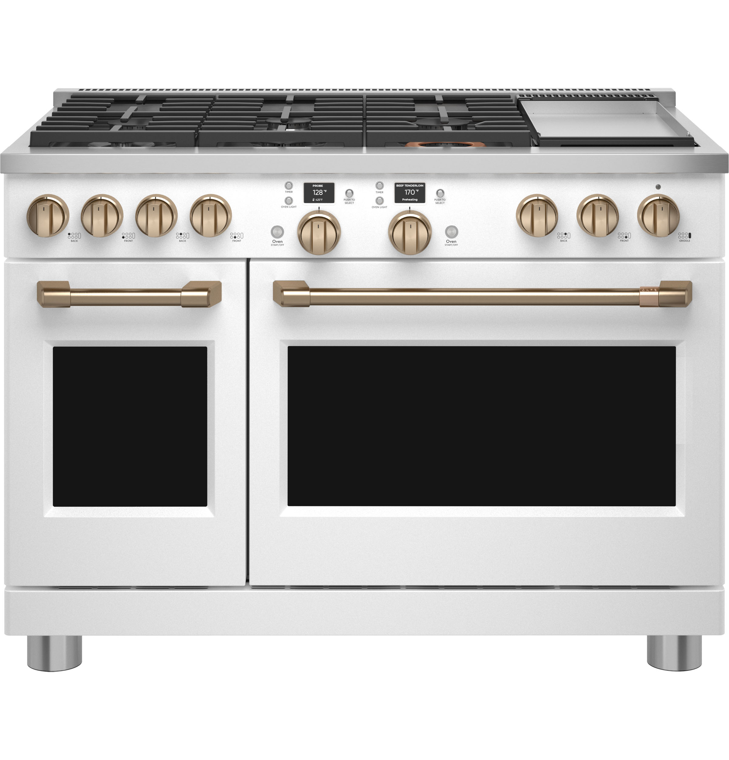 """Cafe Café™ 48"""" Smart Dual-Fuel Commercial-Style Range with 6 Burners and Griddle (Natural Gas)"""