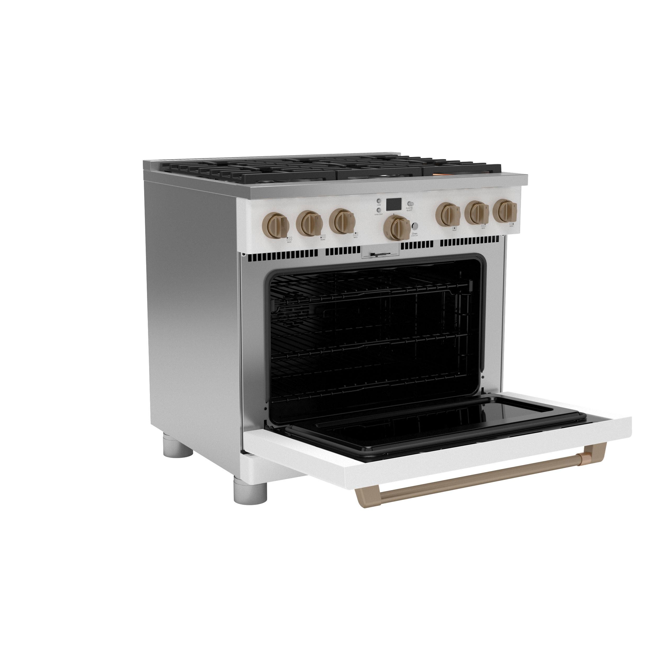 "Model: C2Y366P4TW2   Cafe Café™ 36"" Smart Dual-Fuel Commercial-Style Range with 6 Burners (Natural Gas)"