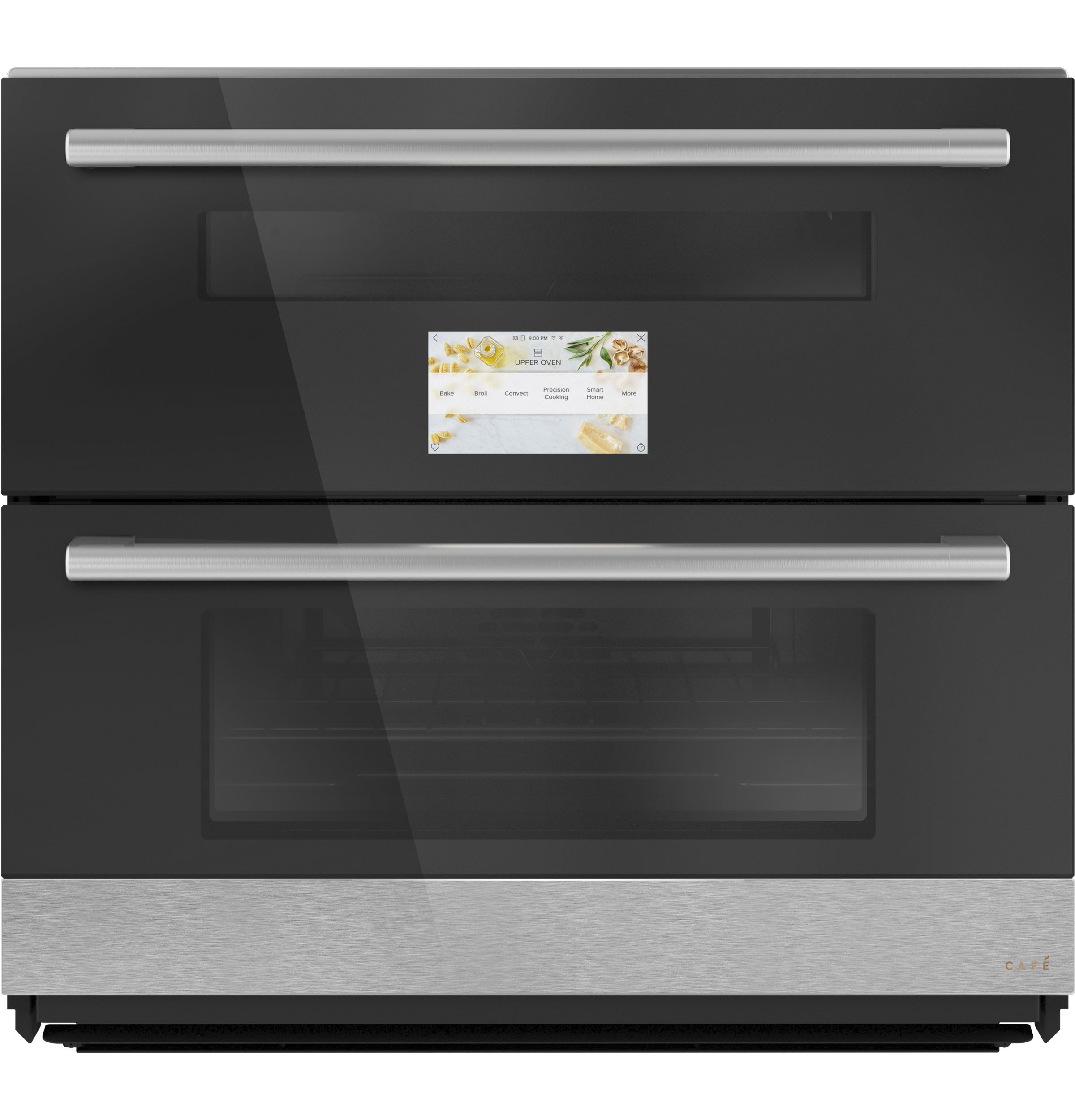 """Cafe Café™ 30"""" Smart Built-In Twin Flex Single Wall Oven in Platinum Glass"""