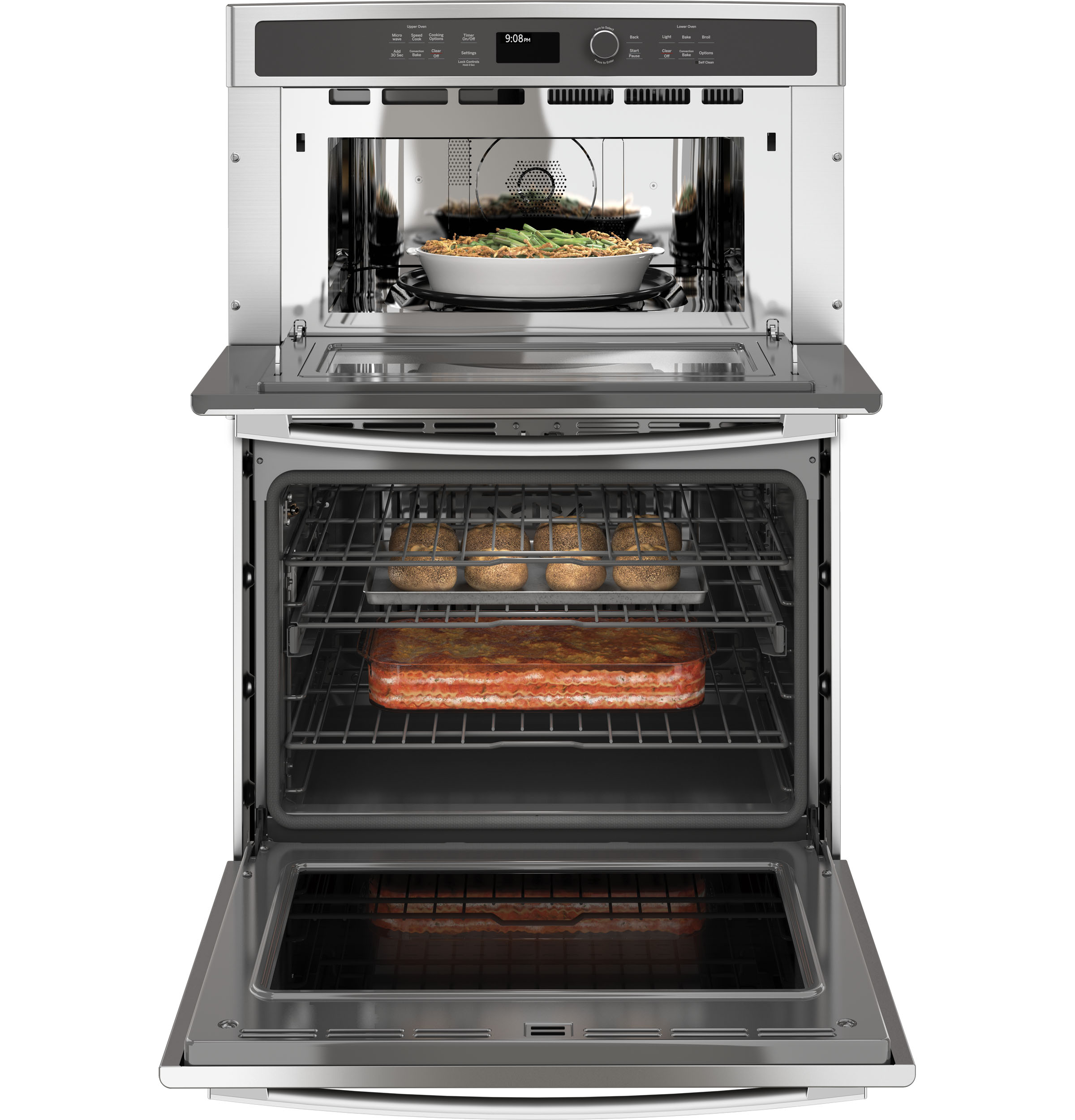 Model: PT9800SHSS | GE Profile GE Profile™ 30 in. Combination Double Wall Oven with Convection and Advantium® Technology