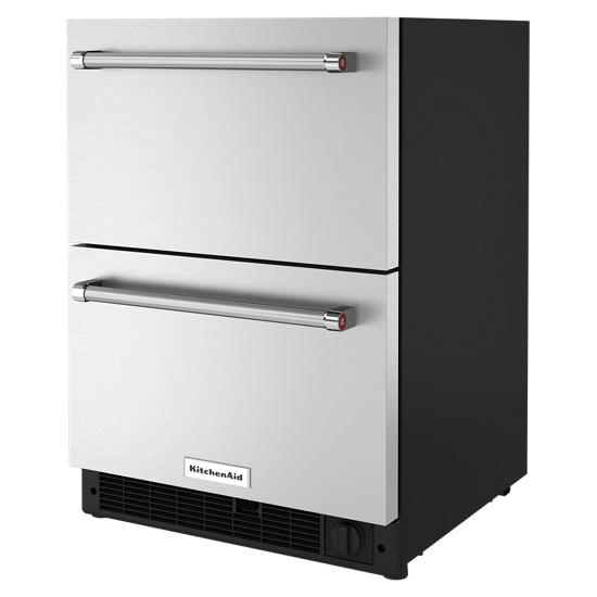 "Model: KUDF204KSB | KitchenAid 24"" Stainless Steel Undercounter Double-Drawer Refrigerator/Freezer"