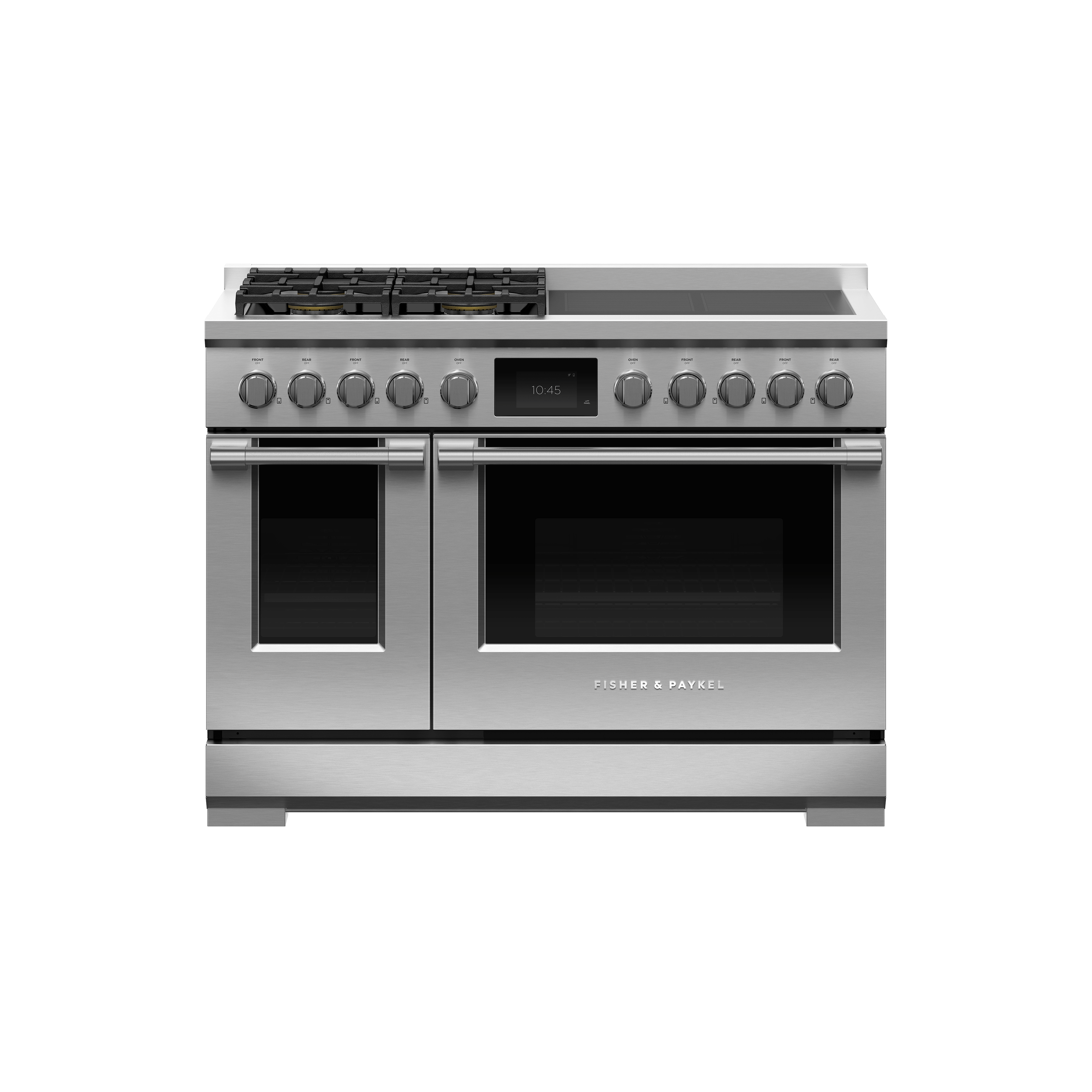 """Fisher and Paykel Dual Fuel Range, 48"""", 4 Burners, 4 Induction Zones, Self-cleaning, LPG"""