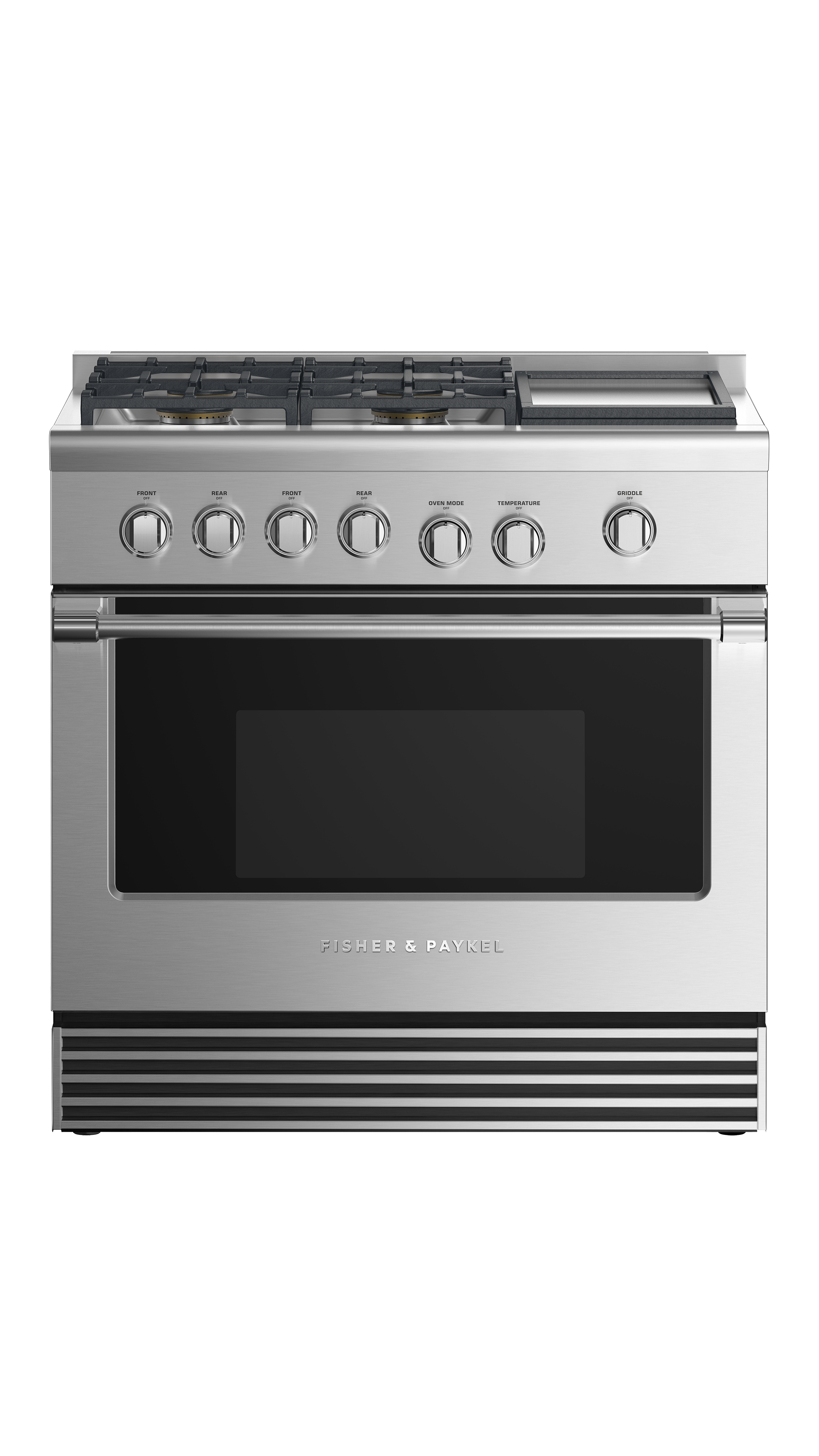 """Fisher and Paykel Dual Fuel Range, 36"""", 4 Burners with Griddle"""