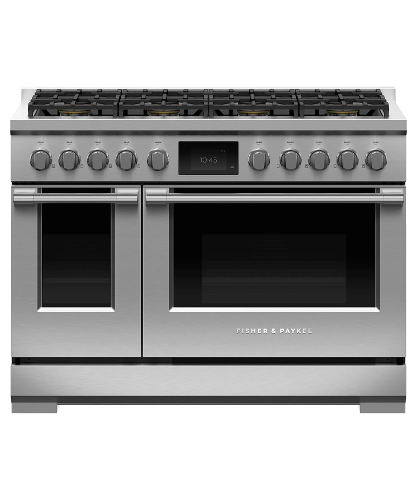 "Model: RDV3-488-N | Fisher and Paykel Dual Fuel Range, 48"", 8 Burners, Self-cleaning"