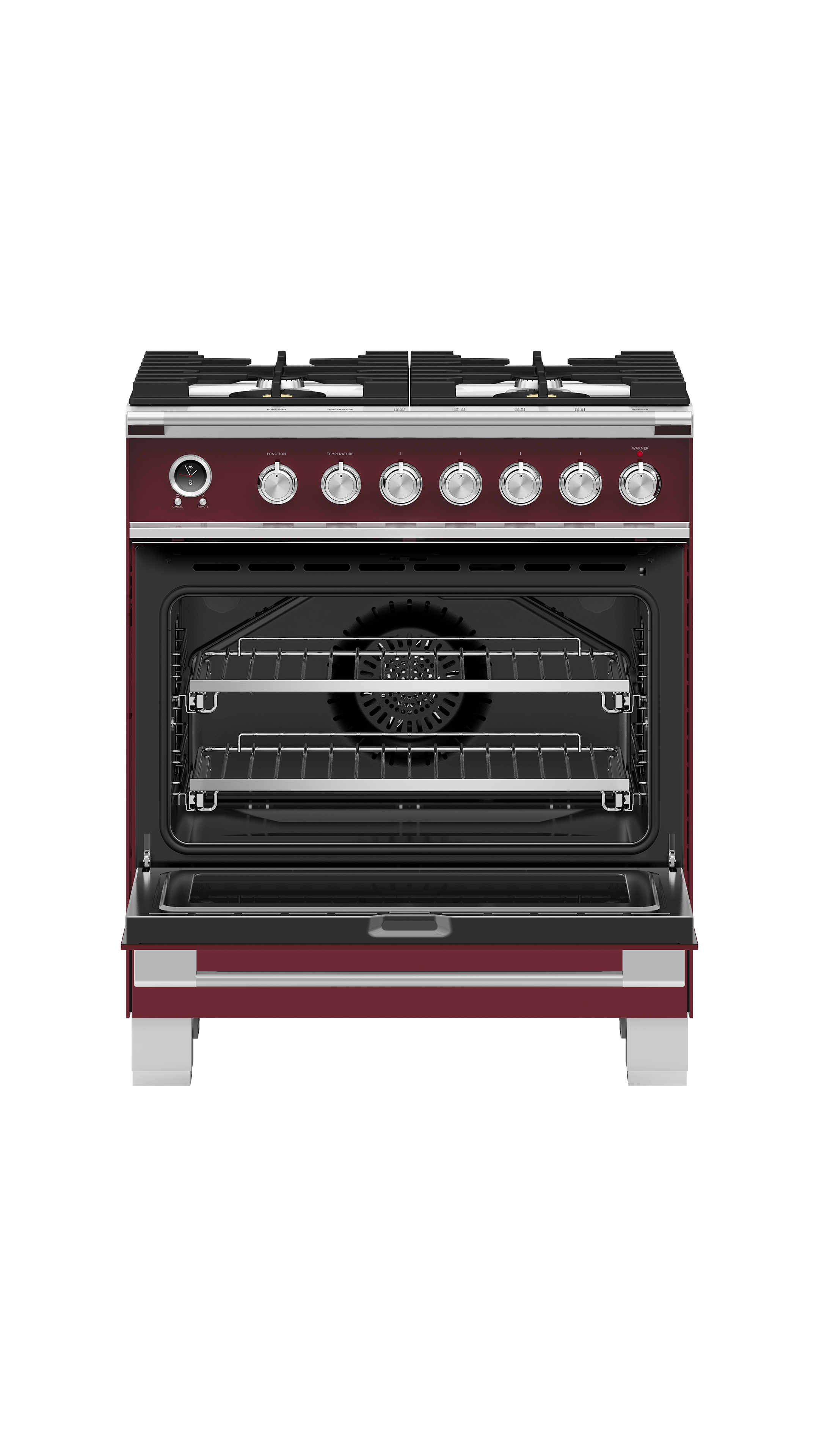 "Fisher and Paykel Dual Fuel Range, 30"", 4 Burners, Self-cleaning"