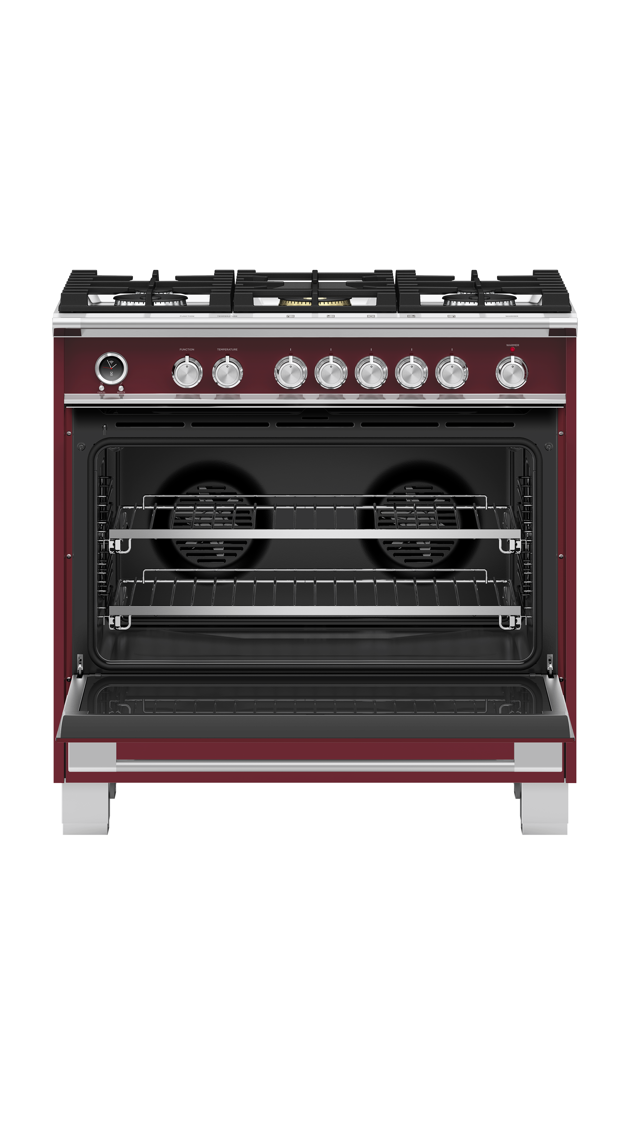 "Fisher and Paykel Dual Fuel Range, 36"", 5 Burners, Self-cleaning"