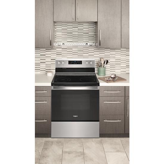 Model: WFE525S0JZ   Whirlpool 5.3 cu. ft. Whirlpool® electric range with Frozen Bake™ technology