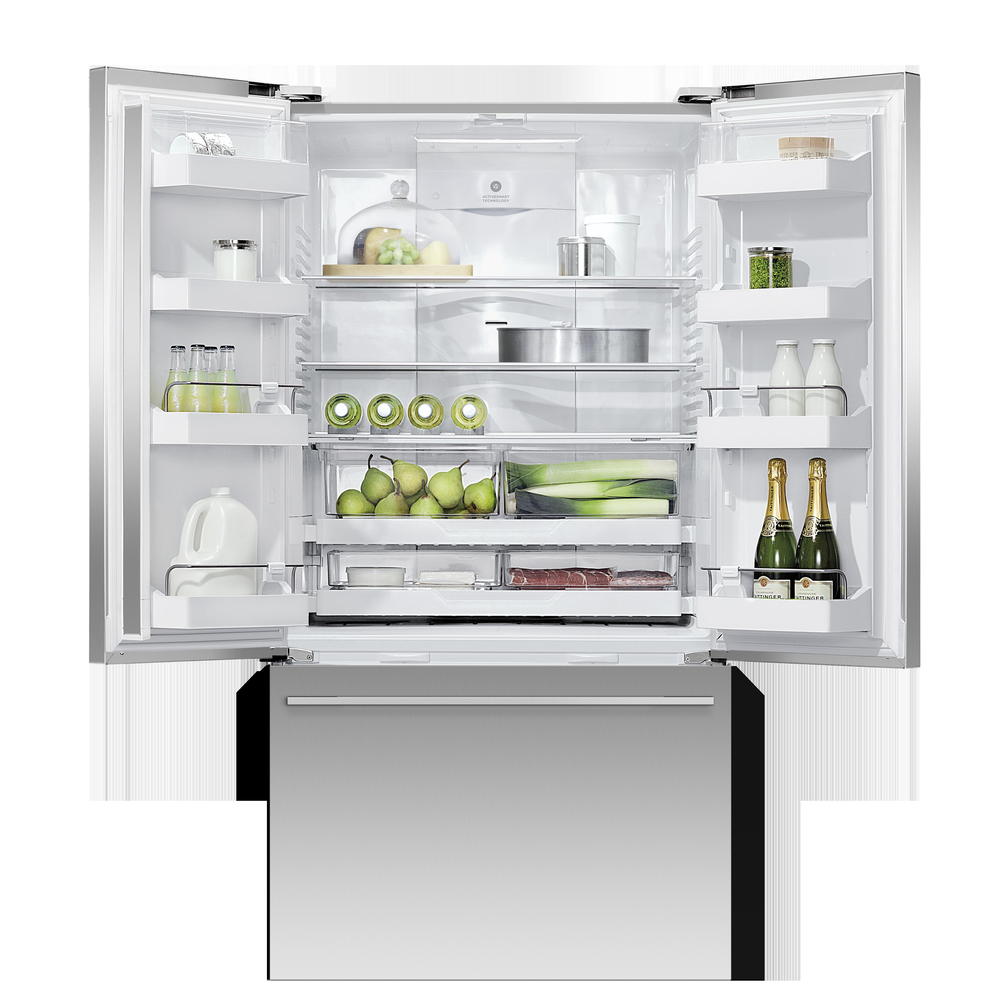 "Fisher and Paykel Freestanding French Door Refrigerator Freezer, 36"", 20.1 cu ft, Ice"