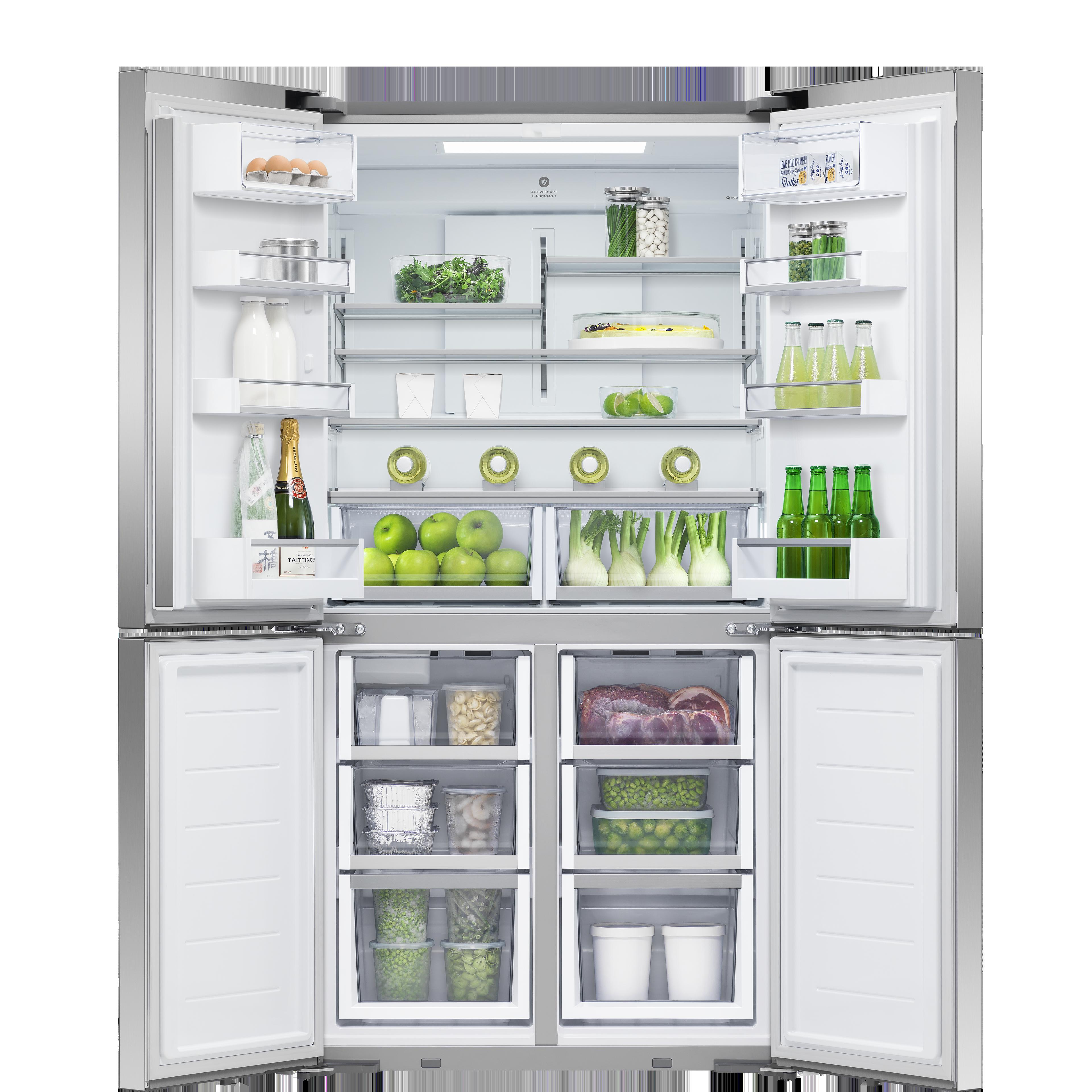"""Fisher and Paykel Freestanding Quad Door Refrigerator Freezer, 36"""", 18.9 cu ft, Ice & Water"""