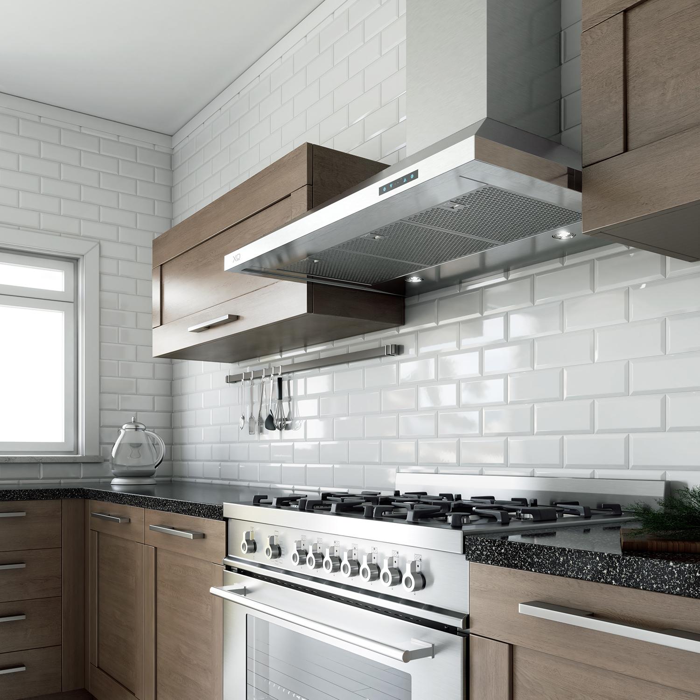 "XO Appliances 36"" 600/395 CFM Italian Made Wall Chimney Range Hood Stainless"