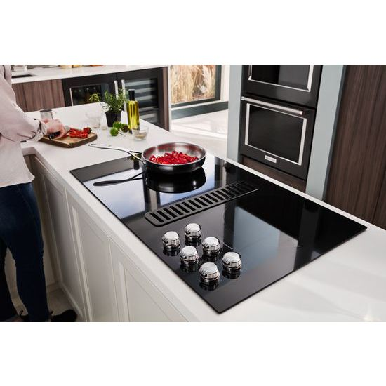 "Model: KCED606GBL | KitchenAid 36"" Electric Downdraft Cooktop with 5 Elements"