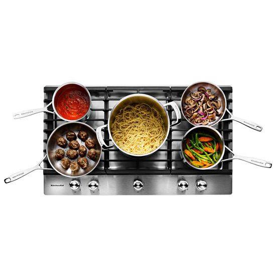 "Model: KCGS556ESS | KitchenAid 36"" 5-Burner Gas Cooktop"