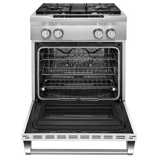 Model: KDRS407VMW | KitchenAid 30'' 4-Burner Dual Fuel Freestanding Range, Commercial-Style