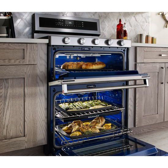 Model: KFDD500ESS | KitchenAid 30-Inch 5 Burner Dual Fuel Double Oven Convection Range