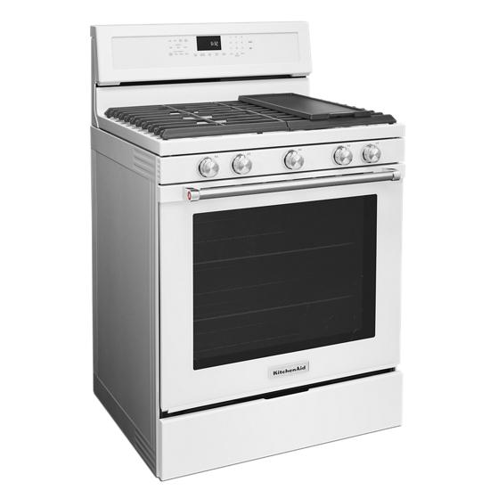 Model: KFGG500EWH   KitchenAid 30-Inch 5-Burner Gas Convection Range