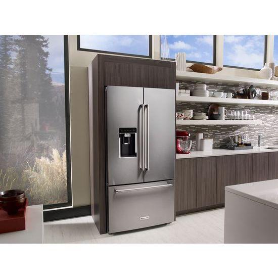 "Model: KRFC704FPS | KitchenAid 23.8 cu. ft. 36"" Counter-Depth French Door Platinum Interior Refrigerator with PrintShield™ Finish"