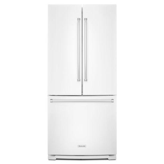 Model: KRFF300EWH   KitchenAid 20 cu. Ft. 30-Inch Width Standard Depth French Door Refrigerator with Interior Dispense