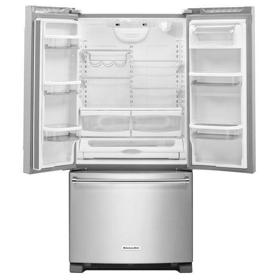 Model: KRFF302ESS | KitchenAid 22 Cu. Ft. 33-Inch Width Standard Depth French Door Refrigerator with Interior Dispenser