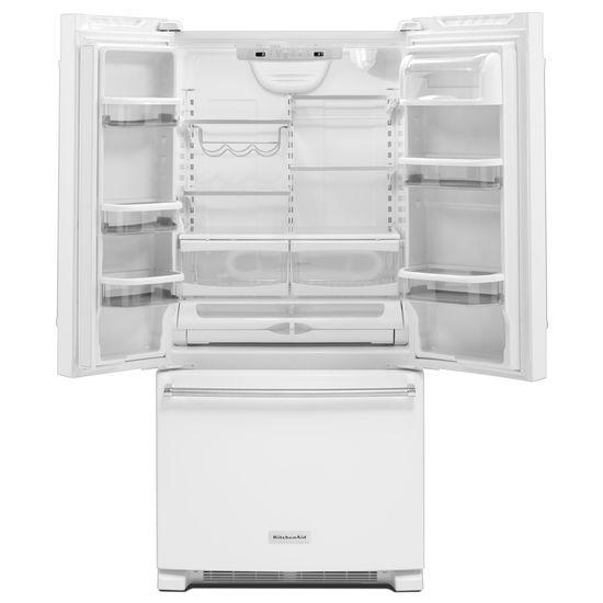 Model: KRFF302EWH | KitchenAid 22 Cu. Ft. 33-Inch Width Standard Depth French Door Refrigerator with Interior Dispenser