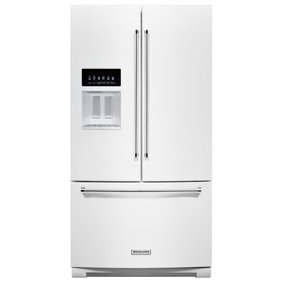 Model: KRFF507HWH | KitchenAid 26.8 cu. ft. 36-Inch Width Standard Depth French Door Refrigerator with Exterior Ice and Water