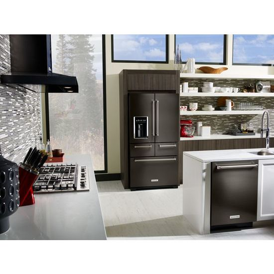 "Model: KRMF706EBS | KitchenAid 25.8 Cu. Ft. 36"" Multi-Door Freestanding Refrigerator with Platinum Interior Design"