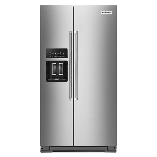 KitchenAid 19.9 cu ft. Counter-Depth Side-by-Side Refrigerator with Exterior Ice and Water and PrintShield™ finish