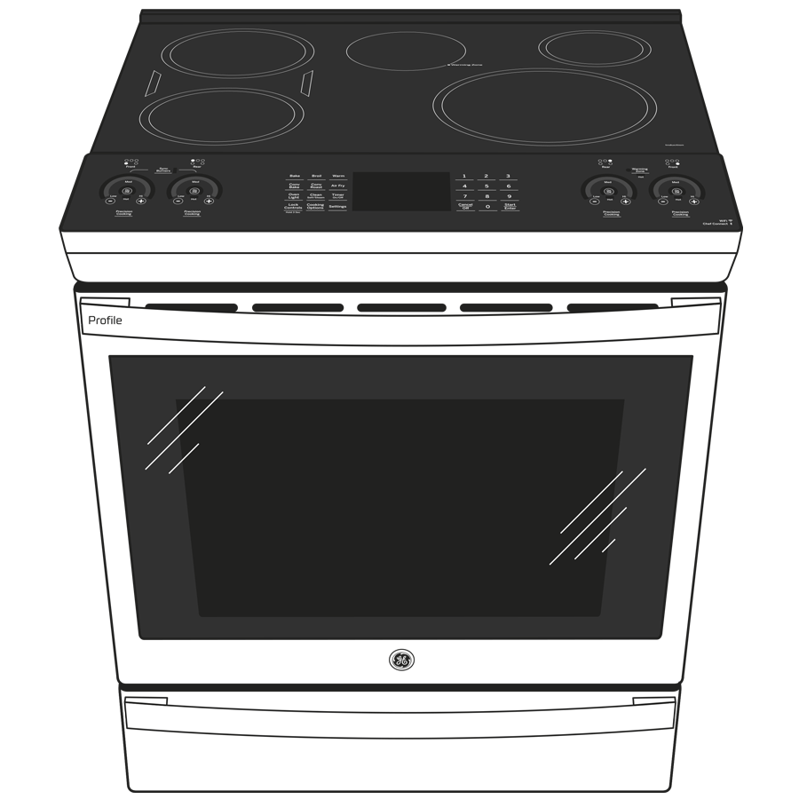 """Model: PHS930BPTS   Cafe GE Profile™ 30"""" Smart Slide-In Front-Control Induction and Convection Range with No Preheat Air Fry"""