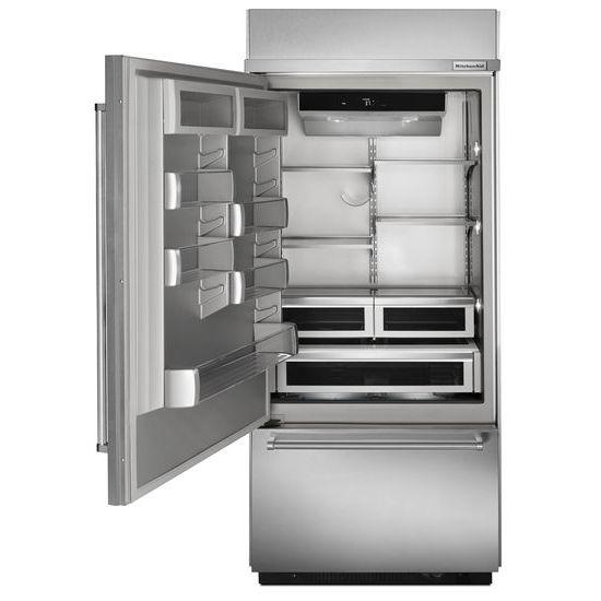 "Model: KBBL306ESS | KitchenAid 20.9 Cu. Ft. 36"" Width Built-In Stainless Bottom Mount Refrigerator with Platinum Interior Design"
