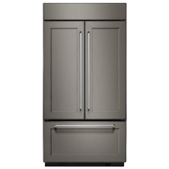 "Model: KBFN502EPA | KitchenAid 24.2 Cu. Ft. 42"" Width Built-In Panel Ready French Door Refrigerator with Platinum Interior Design"