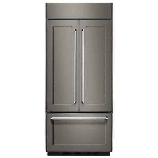 "Model: KBFN506EPA | KitchenAid 20.8 Cu. Ft. 36"" Width Built In Panel Ready French Door Refrigerator with Platinum Interior Design"