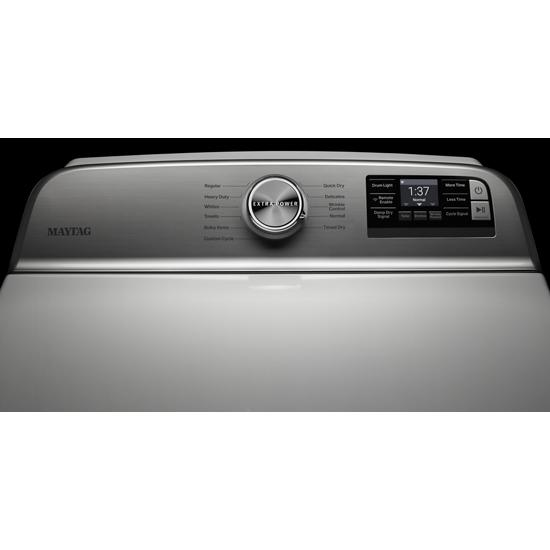 Model: MED6230RHW | Maytag Smart Capable Top Load Electric Dryer with Extra Power Button - 7.4 cu. ft.