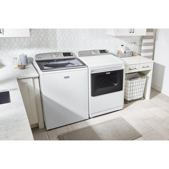 Model: MED7230HW | Maytag Smart Capable Top Load Electric Dryer with Extra Power Button - 7.4 cu. ft.