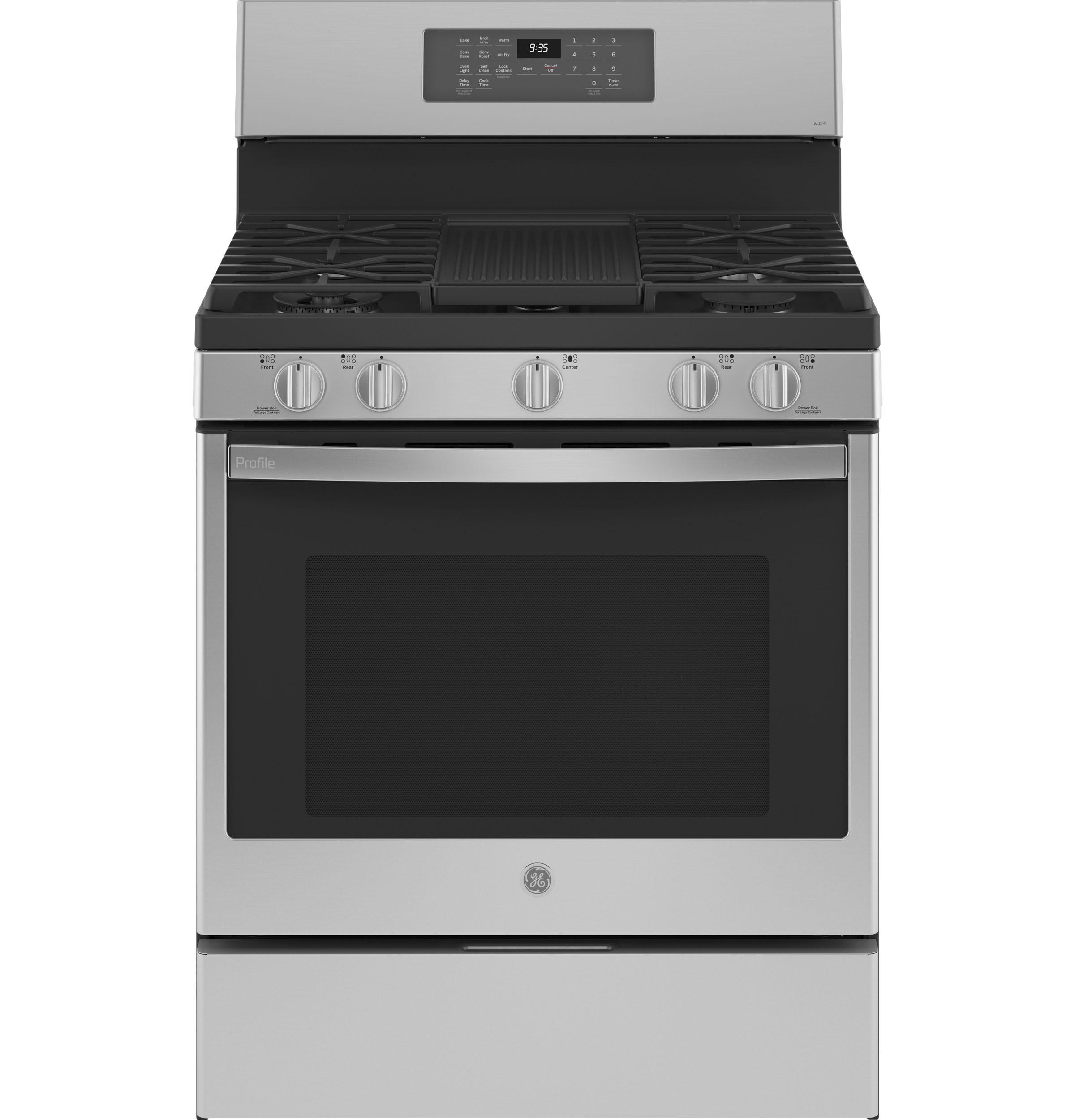 "GE Profile GE Profile™ 30"" Free-Standing Self Clean Dual-Fuel Fingerprint Resistant Range with Storage Drawer"