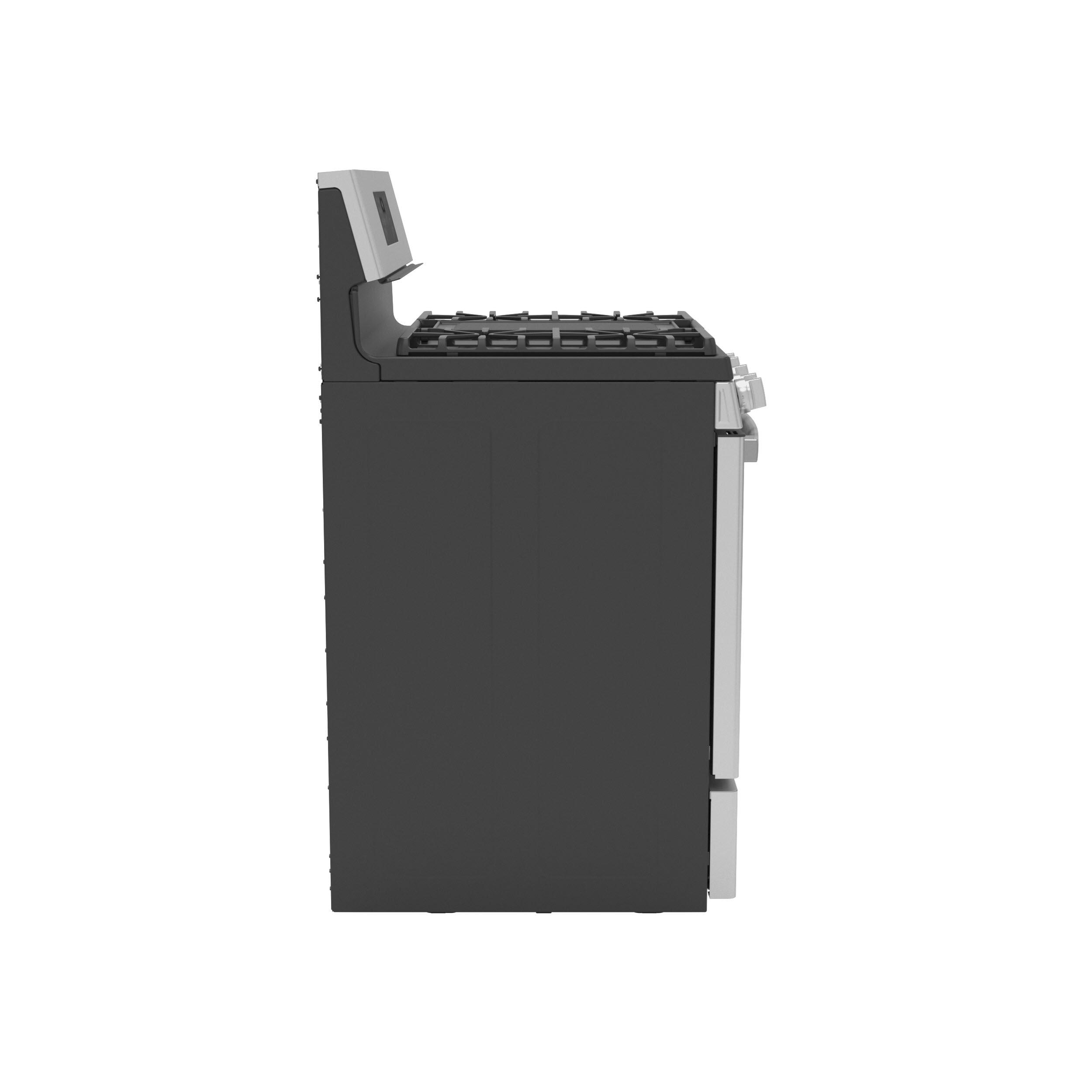"Model: P2B935YPFS | GE Profile GE Profile™ 30"" Free-Standing Self Clean Dual-Fuel Fingerprint Resistant Range with Storage Drawer"
