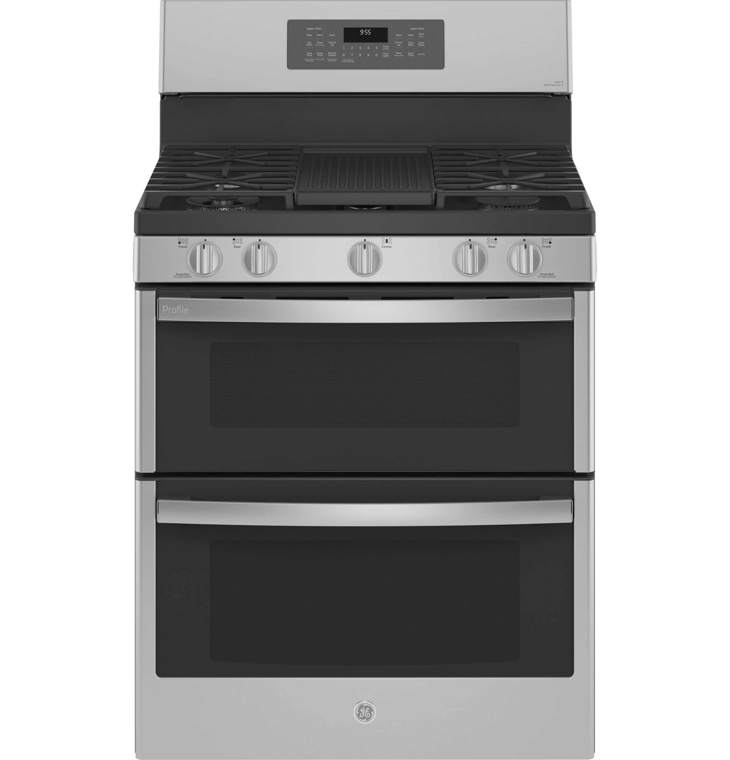 """GE Profile GE Profile™ 30"""" Free-Standing Gas Double Oven Convection Fingerprint Resistant Range with No Preheat Air Fry"""