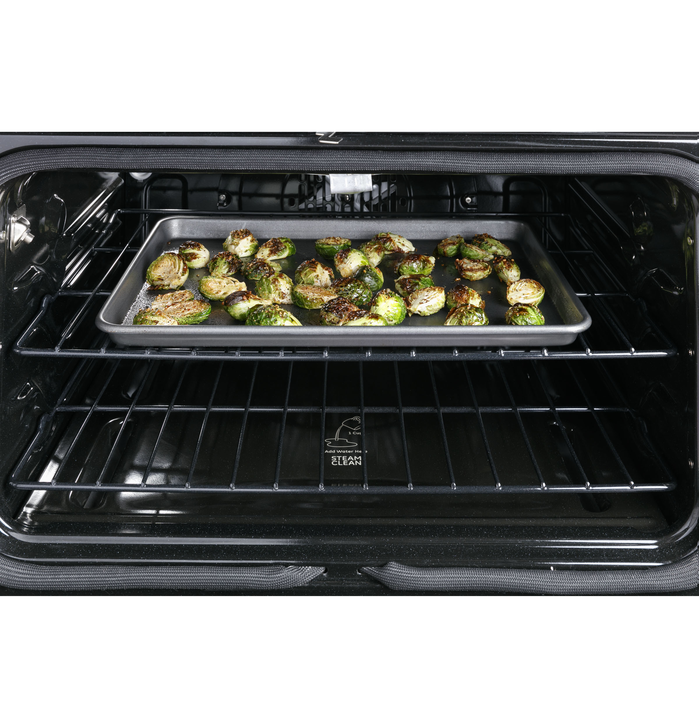 """Model: CES750P4MW2   Cafe Café™ 30"""" Smart Slide-In, Front-Control, Radiant and Convection Double-Oven Range"""